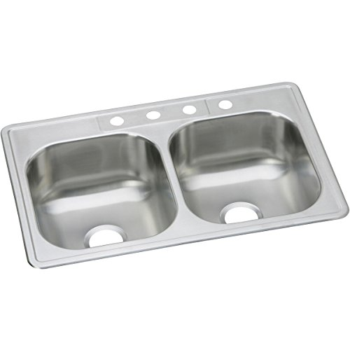 Dayton DSE233223 Equal Double Bowl Top Mount Stainless Steel Sink by Elkay