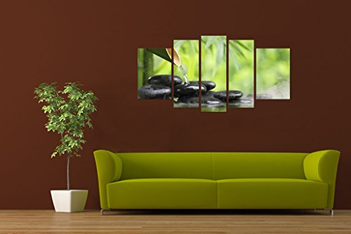 Startonight Canvas Wall Art Zen Stones and Green Bamboo Nature, Spa USA Design for Home Decor, Dual View Surprise Wall Art Set of 5 Total 35.43 X 70.87 Inch Original Art Painting! by Startonight (Image #2)