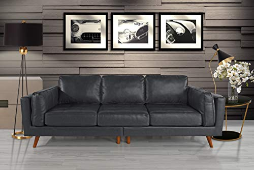 """Upholstered Mid Century Modern Tufted Leather Sofa, 96"""" W inches (Grey)"""