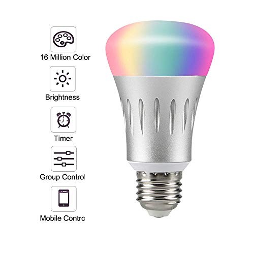 Smart Light Bulb,LED WiFi Light Bulbs,Dimmable Multicolored LED Light Bulbs,Smartphone Controlled Daylight & Night Light,Works with Google Assistant/IFTTT,7W Home Lighting, E27 -
