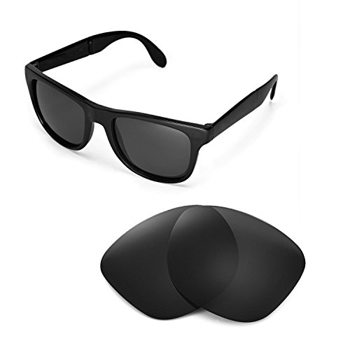 Walleva Replacement Lenses for Ray-Ban Wayfarer RB4105 54mm Sunglasses - Multiple Options Available(Black - - Polarized Rb4105