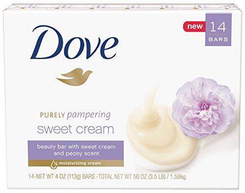 Dove 14 Piece Purely Pampering Beauty Bar, Sweet Cream/Peony, 4