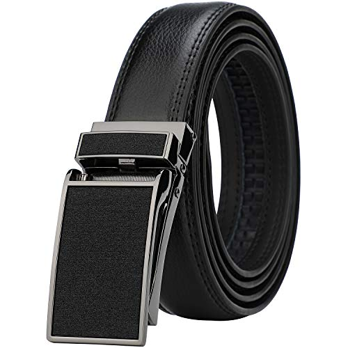 - Men's Comfort Genuine Leather Ratchet Dress Belt with Automatic Click Buckle (Suit Pant Size 28