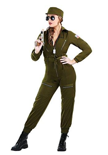 Plus Size Top Gun Costumes (Fun Costumes Plus Size Women's Army Flightsuit Costume 2X)