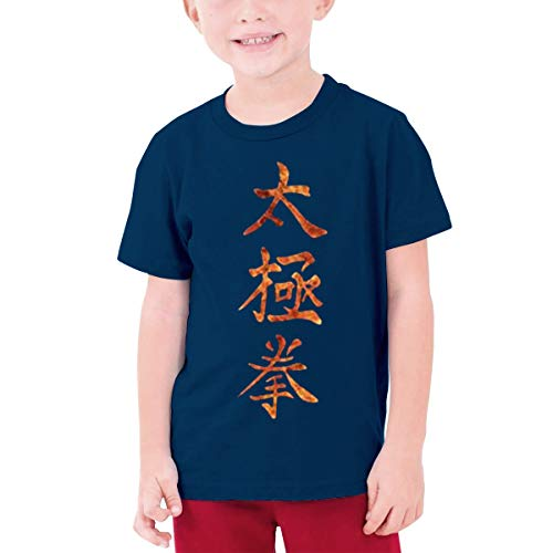 MDClothI Youth Boys&Grils Leisure Teenage T-Shirt Printed with Gold Tai Chi Chuan L