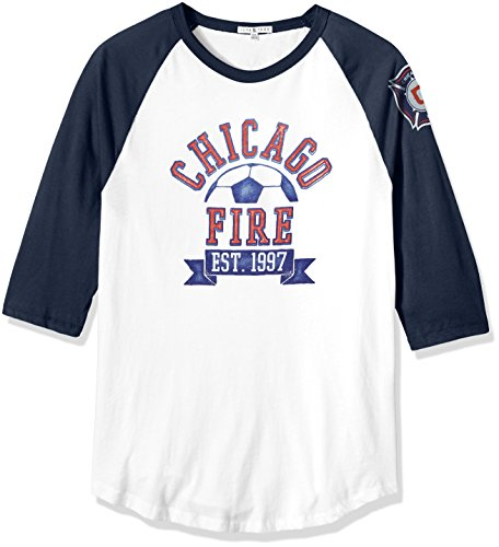 Junk Food MLS Chicago Fire Men's Long Sleeve Raglan Tee, XX-Large, Ew/Non