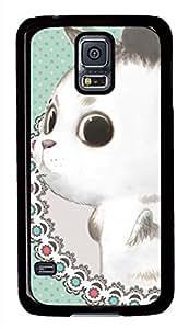 Cute White Cat Black Hard Case Cover Skin For Samsung Galaxy S5 I9600