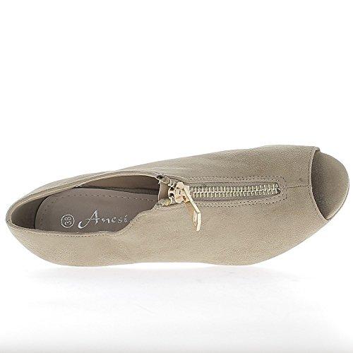 Tacón de 9cm y bandeja abierta baja tobillo botas negro