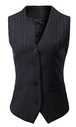 Foucome Women's Pinstripe Formal Casual Suit Slim Fit Button Down Vest Waistcoat Dark Grey Strips US L by Foucome