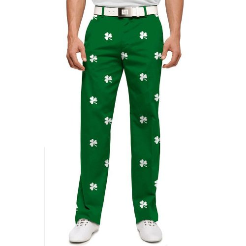Loudmouth Golf Mens Pants: Embroidered White Shamrocks - Size 32x34