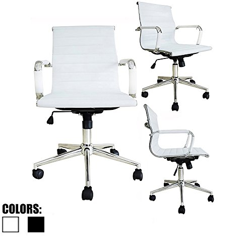 2xhome - Single (1) White - Modern Mid back Ribbed PU leather with Arm Rest w/Tilt Adjustable Boss Executive Office Chair Work Task Computer Executive Arms Large Heavy-Duty Ergonomic