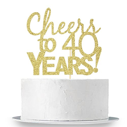 (INNORU Cheers to 40 Years Cake Topper - Gold Glitter 40th Birthday ,Wedding Anniversary Cake Bunting Party Decoration)
