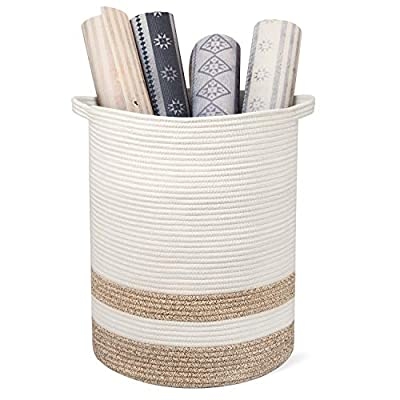 """RUNKA Extra Large Storage Basket 16"""" x 19"""", Soft Woven Large Basket with Handles,Extra Large Basket and Organizer for Laundry, Toys, Books and Baby Blankets - 【Multi-purpose Woven Baskets】 Our giant basket is available 16""""×19"""", can hold toys as well as other items, such as laundry items, clothes, beddings, books and more! Not only as a hamper, but also could be used for your pet to store its personal items. A basket to solve your troubles of organizing the room. 【High-quality Cotton Rope Basket 】 Our woven baskets for storage is made of cotton natural woven ropes, eco-friendly. The quality workmanship ensures there are no sharp or hard surfaces on this woven basket, so you could use it for your babies, kids and pets. 【Instruction】 our woven basket is folded for shipping due to its huge size which may result in some creases. Don't worry, put clothes or blankets in it so as to quickly restore its shape. - living-room-decor, living-room, baskets-storage - 416VasIOevL. SS400  -"""