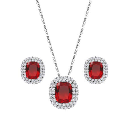 Lavencious Square Design Jewelry Set Necklace & Earrings Trendy AAA Cubic Zirconia Rhodium Plated for Women (Red)