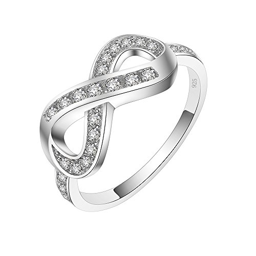 (Lavencious Forever Infinity Ring 925 Sterling Silver Statement with White AAA CZ (Silver, 9))