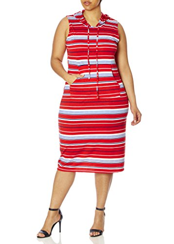 [[77941XR-RED-3X] Love Collection Hooded Dress with Stripes, Junior Plus Size, Spandex] (Neon Party Dresses)