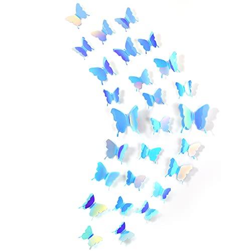 Espejos mariposas 3D 48 unidades azul