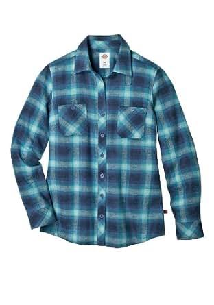Dickies FL055 Women's Plaid Flannel Shirt (Slate Blue Ombre;Medium)
