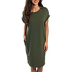 Ofenbuy Womens Summer Casual Dresses Crew Neck Short Sleeve Loose Midi Dress with Pockets