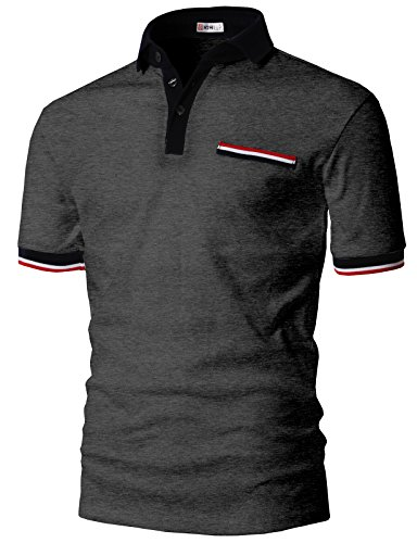 H2H Mens Boy Friend Fit Color Line Point Polo T-Shirts Charcoal US 3XL/Asia 4XL (KMTTS0555) Boys Original Pique Polo Shirt
