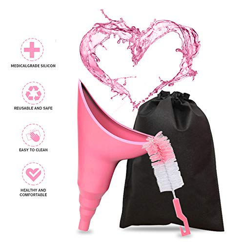 Female Urination Device - Portable Female Urinal Funnel to Help Women Pee Standing Up, Reusable Pee Funnel NO WORRY In Camping, Hiking, Traveling, Dirty Toilet, Car. ( With Cleaning Brush And Bag)
