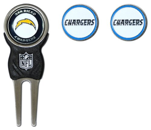 Team Golf NFL San Diego Chargers Divot Tool with 3 Golf Ball Markers Pack, Markers are Removable Magnetic Double-Sided Enamel