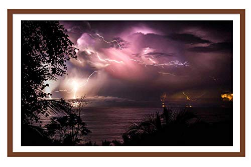 (Coffee Solid Wood Large Frame 10X13 Costa Rica Night Sea Clouds Lightning Wall Art Paintings The Picture Framed for Home Decor Ready to Hang)