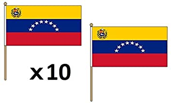 AZ FLAG Bandera de Venezuela 45x30cm con Palo de Madera ...