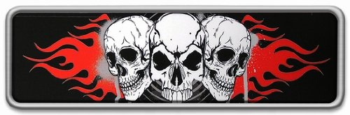 Custom Accessories 98092 Chrome Skull//Flames Emblem with Epoxy Inlay