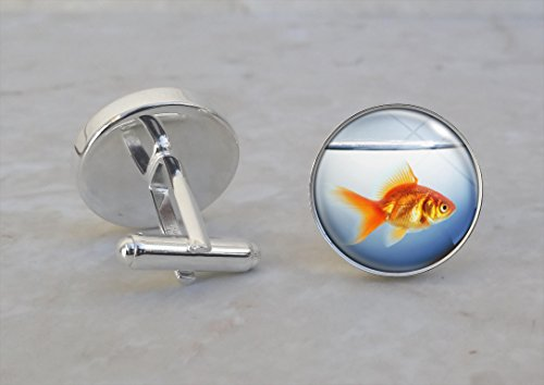 Orange Goldfish in Fish Bowl Animal .925 Sterling Silver Cufflinks (In Resin Goldfish)