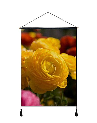 PUPBEAMO PRINTS Wall Art Scroll Poster - Roses Flowers Garden Miscellaneous Loose - Art Print On Canvas Wall Hanging Picture for Home Decoration 18x26 Inches