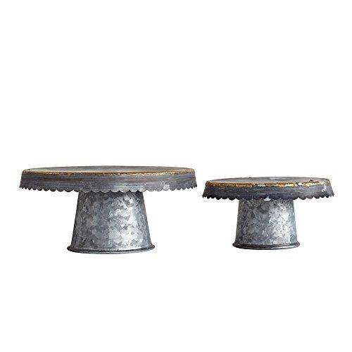Creative Co-op DA8635-1 Grey Decorative Metal Pedestals (Set of 2 -