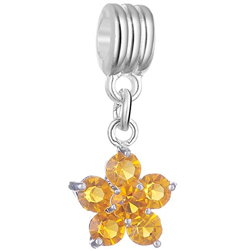 - RUBYCA 5Pcs Flower Dangle Pendant Charm Beads Crystal Rhinestone European Bracelet Amber Gold