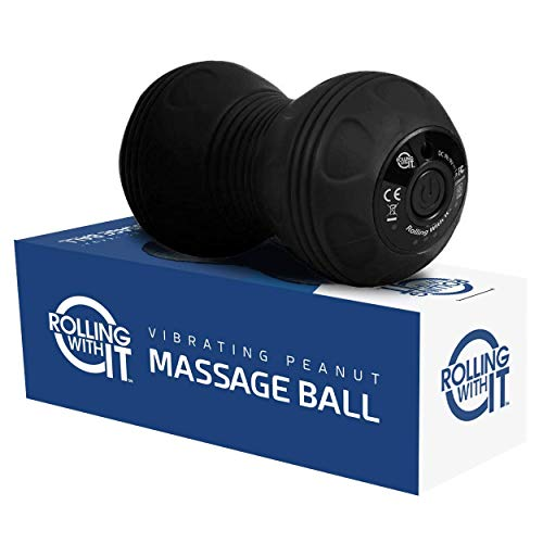 Professional Vibrating Peanut Massage Ball - Deep Tissue Trigger Point Therapy, Myofascial Release - Handheld, Cordless - 4 Intensity Levels - Dual Lacrosse Ball Vibration Massager - Black