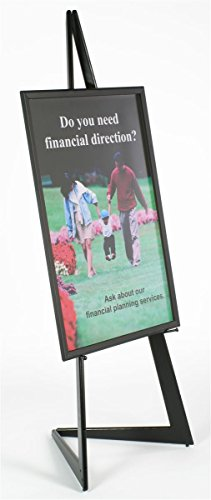 (Displays2go 72 Inch Floor Standing Poster Easel, Supports 24 x 36 Inch Graphics, Snap Frame Style - Black (EASBKQC36))