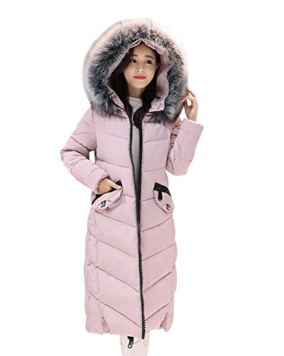 Abrigos Plumas Chaquetas Espesar Pink Casual Invierno De Cálido Parkas Capucha Con Largo Mujer qFZT44