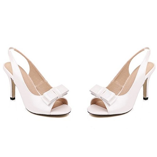 Peep Back White Open Heel Toe Sandals Shoes Slip TAOFFEN Women Bowtie On High Fashion qHtpZRZ