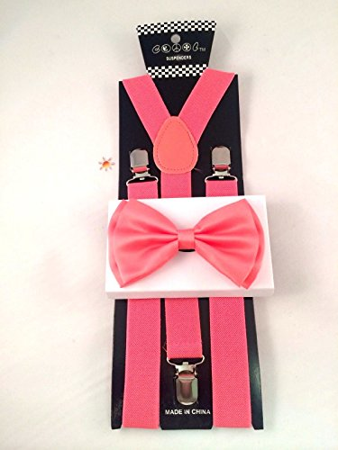 Unisex Salmon coral Suspenders Adjustable