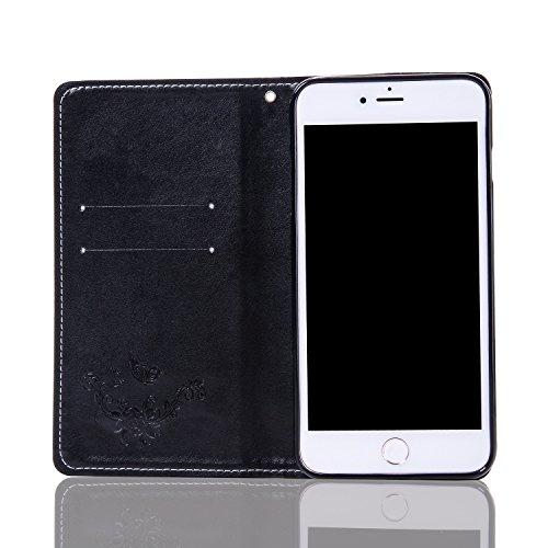 JIALUN-carcasa de telefono Caja de cuero de la PU de la carpeta, cubierta del caso del soporte del tirón de Folio con el sostenedor y ranuras de la tarjeta y encierro magnético para el iPhone 7 más (  Black
