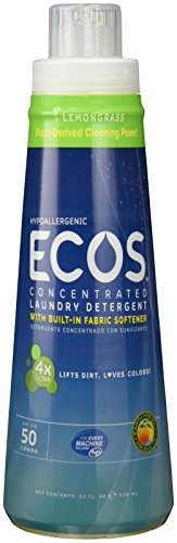 Earth Friendly Products ECOS 4x Concentrated Detergent With Built-In Softener, Lemongrass, 50 HE Loads, 25 Ounce (Earth Friendly Products Ecos Laundry)