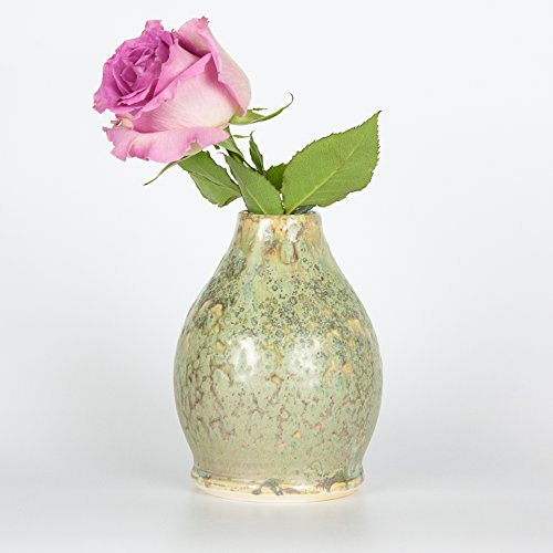 Speckled Pottery (Sage Green Drop Ceramic Bud Vase by Barombi Studios)