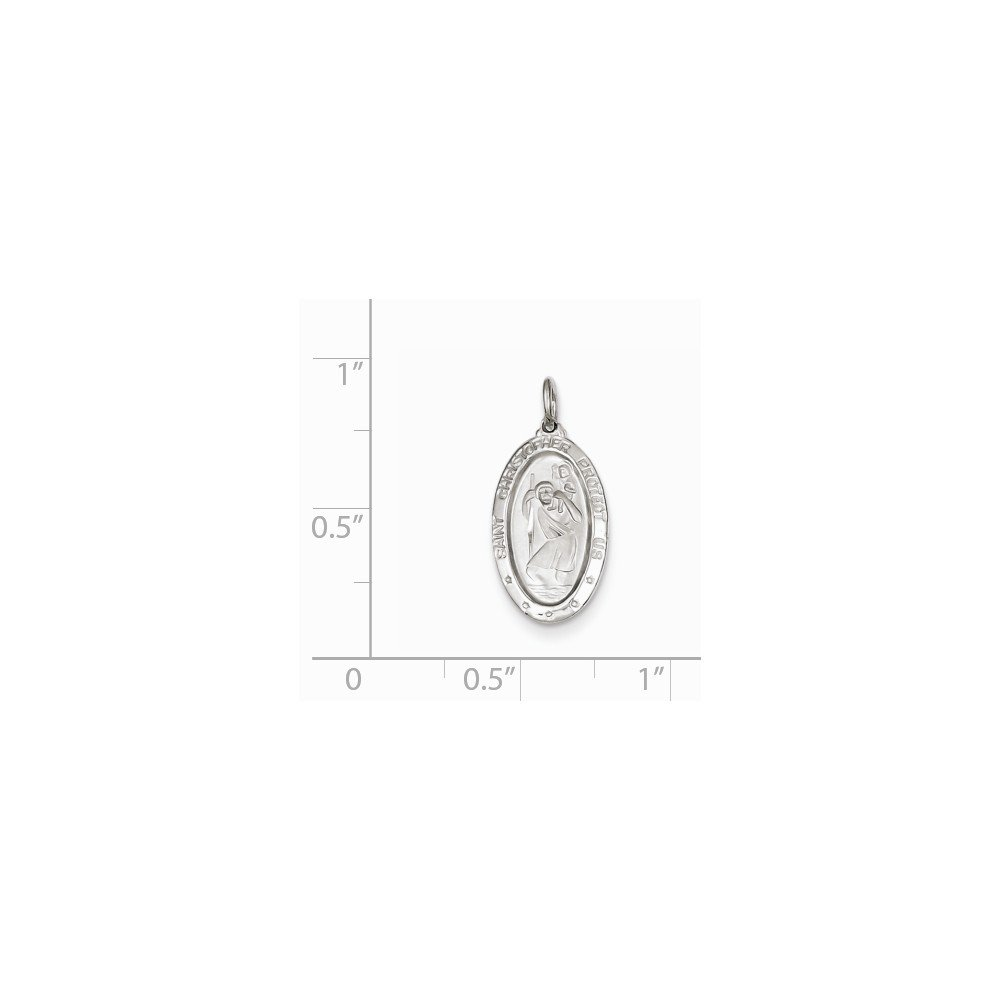 Sterling Silver Rhodium-plated St Christopher Medal