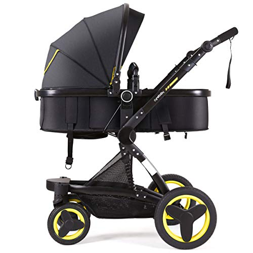 Cynebaby Stroller Bassinet Reversible Pram Strollers Infant All Terrian Baby Carriage City Select Vista Toddler Pushchair for Girl n Boy add Net Cover (Warm Yellow)