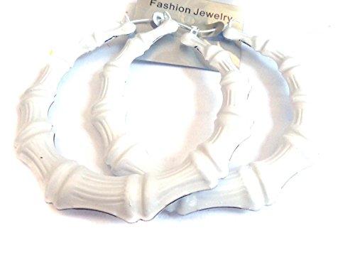 Large Bamboo Hoop Earrings Assorted Colored 3.5 inch Hoop Earrings (White)