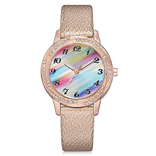 Women's Quartz Watches, Windoson Fashion Metal Retro Rainbow Round Dial Quartz Analog Wrist Watch with Leather Band, Lady Watches Female Watches (Round Dial Plate Belt)