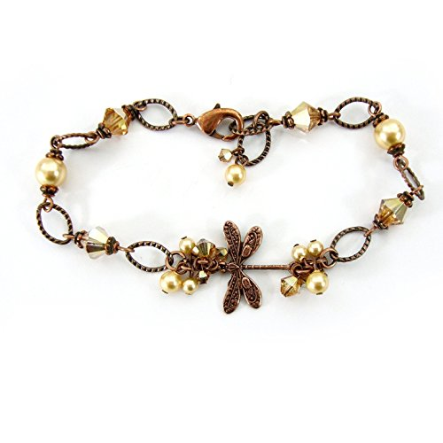 Copper Colored Dragonfly Bracelet with Swarovski Crystal Beads