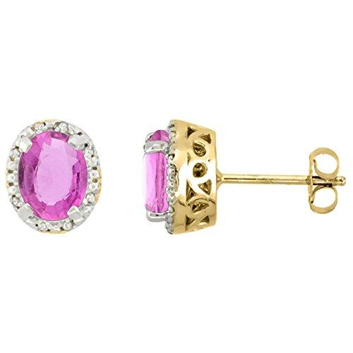 Sapphire Earrings Oval Pink (10K Yellow Gold Diamond Halo Natural Pink Sapphire Stud Earrings Oval 7x5 mm)