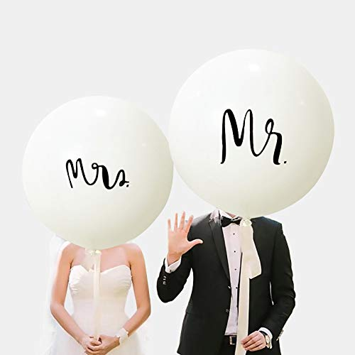 36Inch Jumbo Mr. & Mrs. Balloons, Just Married Balloons, Wedding Party, Anniversary Bridal Decorations, Propose Engagement Party Prop Backdrops (Mrs. & Mr. Balloons)