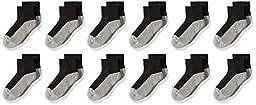 Jefferies Socks Big Boys\' Seamless Toe Athletic Quarter 12 Pack, Black/Grey, 5-6.5/Toddler