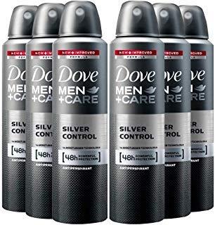 (6 Pack Dove Men+Care Deodorant Silver Control Spray 48 Hr. Protection 150 ML )